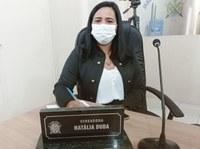 Da Tribuna vereadora Natália Duda agradece ao deputado Roberto Costa pela doação de cestas básicas